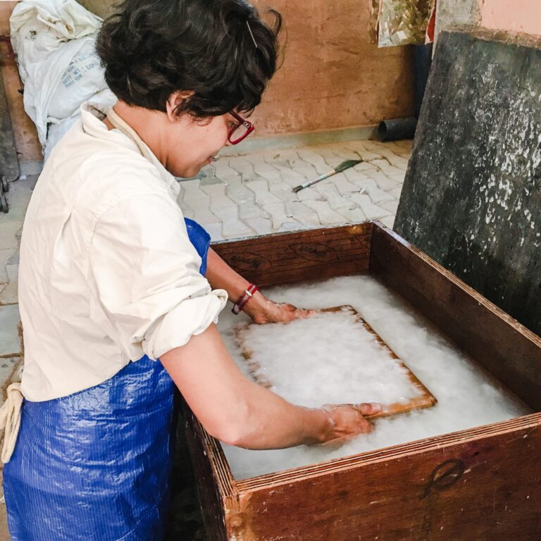 Learning the art of papermaking in Auroville