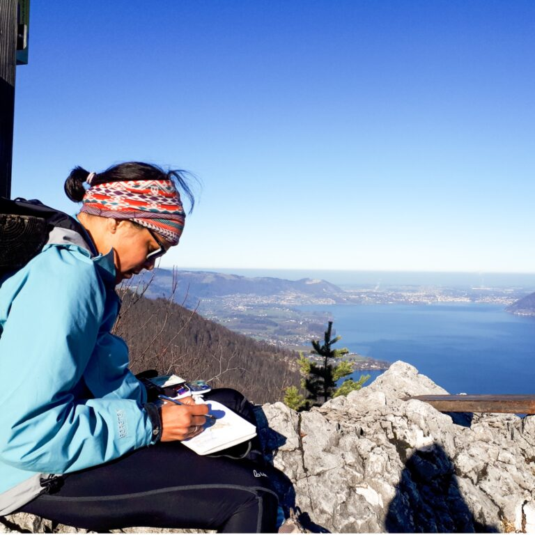 Sketching on the top of a mountain